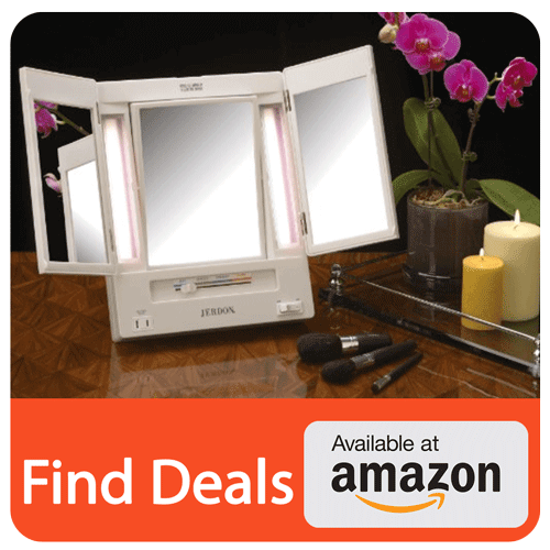 Jerdon Tri Fold Two Sided Lighted Makeup Mirror